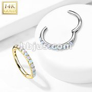 14Kt Side Opal Paved Half Circle Hinged Segment Hoop Rings for Cartilage,Daith,Eyebro and More