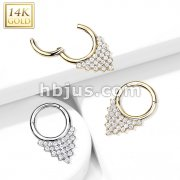 14kt Gold Hinged Segment Hoop Ring with CZ Paved Triangle Plate