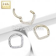 14kt Gold Hinged Segment Hoop Ring with Single Line CZ Paved Chevron