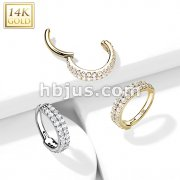 14kt Gold Hinged Segment Hoop Ring with Double Line Paved CZ