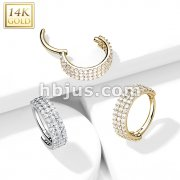 14kt Gold Hinged Segment Hoop Ring with Triple Line Paved CZ