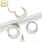 14kt Gold Hinged Segment Hoop Ring with Front Facing Double Line Paved CZ