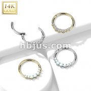 14K Gold Front Facing 7 Opal or 7 CZ Hinged Segment Hoop Ring