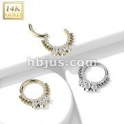 14K Gold Hinged Segment Hoop Rings with CNC Set CZ Paved Front and 3 Bezel Set CZ