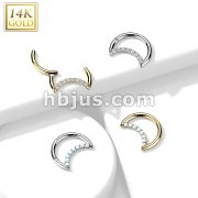 14K Gold Hinged Segment Hoop Ring with Opal or CZ Paved Crescent