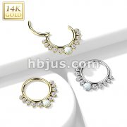 14K Gold Hinged Segment Hoop Ring with Front Facing Single Lined CZ and Opal Center