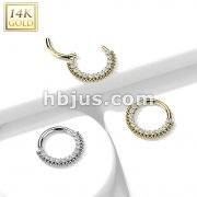 14K Gold Hinged Segment Hoop Rings with Lined CZ and Balls