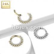 14K Gold Hinged Segment Hoop Rings with Forward Facing Double Lined CZ Set