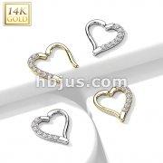 14K Gold CZ Paved Heart Hinge Hoops