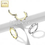 14K Gold Hinged Segment Hoop Ring Lined with Baguette CZ