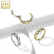 14K Gold Hinged Segment Hoop Ring with Side Facing Infinity Twist