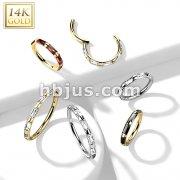 14K Gold Hinged Segment Hoop Rings with Outward Facing Rectangular Baguette CZ