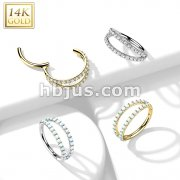 14K Gold Hinged Segment Hoop Ring with Separating Double Lined CZ or Opal Gems