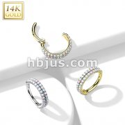 14K Gold Hinged Segment Hoop Ring with Double Line Paved Opal