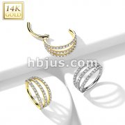 14K Gold Hinged Segment Hoop Rings with Triple Layer Paved CZ
