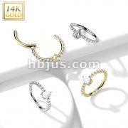 14K Gold Hinged Segment Hoop Ring with CZ Paved and Tear DropOpal or CZ Center