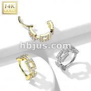 14K Gold Hinged Segment Hoop Ring with Side Facing CZ Paved Square Links