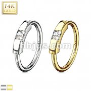 Princess Cut CZ Segment Captive Bead Ring 14 Karat Solid Gold