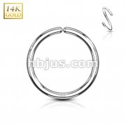 14Kt. White Gold Bendable Hoop Rings For Ear Cratilage, Septum, Eyebrow, Nose and Mor