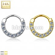 14Kt Gold Ten Paved CZ Single Line Septum Clicker