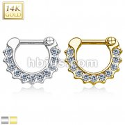 14Kt Gold CZ Paved Round Single Line Septum Clicker