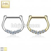 Five CZ Paved 14Kt Gold Septum Clicker