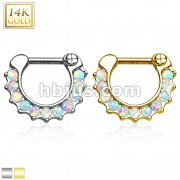 14Kt. Gold Septum Clicker with Lined Opal Gem set.