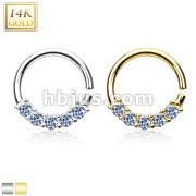 14 Kt. Gold Bendable Round Ring with Five Lined Prong Set CZs for Septum, Cartilage / Tragus