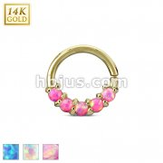 14Kt. Gold Lined Opal Set Bendable Septum/Cartilage Rings