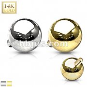 14 Karat Solid Gold Dermal Top Internally Threaded Ball
