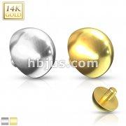 14 Karat Solid Gold Dome Internally Threaded Dermal Anchor Top