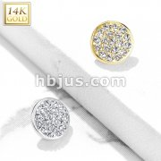 14 Kt. Gold CZ Paved Flat Dome Dermal Anchor Top