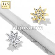 14 Kt. Gold CZ Paved Starburst Dermal Anchor Top