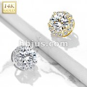 14 Kt. CZ Paved Around Large CZ Center Double Tier Dermal Anchor Top