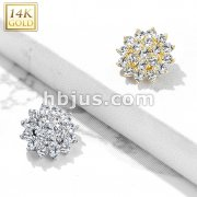 14 Kt. CZ Paved Round Flower Dermal Anchor Top