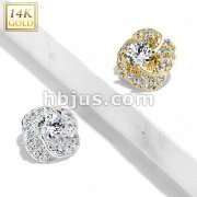 14 Kt. CZ Paved Rose Blossom with Round CZ Center Dermal Anchor Top
