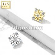 14 Kt. Gold 5 CZ Accented Flower Dermal Anchor Top