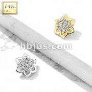 14 Kt. Double Tiered 7 CZ Cluster Center Flower Dermal Anchor Top