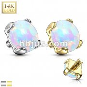 Prong Set Opal Stone 14K Solid Gold Dermal Anchor Top