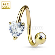 Prong Heart CZ Twist Ring 14 Karat Solid Yellow Gold