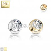 14Kt. Gold CZ Set Threaded Balls