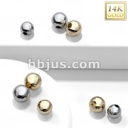 14 Kt. Solid Gold Replacement Ball with Hole for Captive Bead Rings, Hoops.