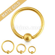 Matte Gold IP Over 316L Surgical Steel Captive Bead Ring
