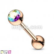Rose Gold IP Over 316L Surgical Steel Tongue Barbell with Crystal  Set Ball