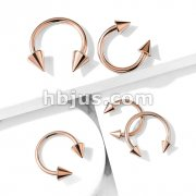 Spike Ends Rose Gold IP 316L Surgical Steel Circular Barbell/Horseshoe