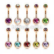 100pcs Rose Gold PVD Over 316L Surgical Steel Double Jeweled Belly Button Ring Bulk Pack (10pcs x 10 colors)