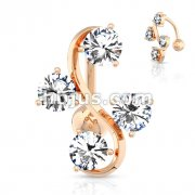 Four CZ Vine Top Down Rose Gold Plated Navel Ring