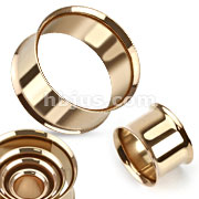 Rose Gold IP Over 316L Surgical Steel Double Flared Flesh Tunnels