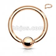 Rose Gold IP Over 316L Surgical Steel Captive Bead Ring