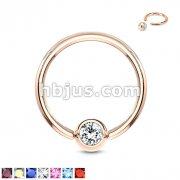 Rose Gold IP Over 316L Surgical Steel Gem Set Ball Captive Rings